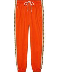 Gucci Спортивные Брюки С Логотипом На Лампасах - Оранжевый