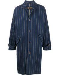 Uma Wang Manteau droit à rayures - Bleu