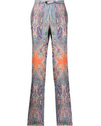Etro Paisley Patterned Pleated Tailored Pants - Blue