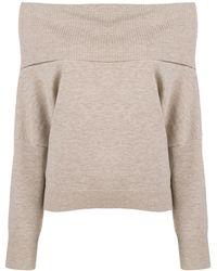 Chalayan Off-the-shoulder Mélange Wool And Cashmere-blend Jumper Sand - Multicolour