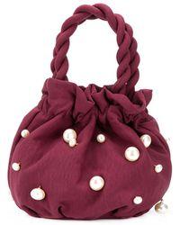 STAUD Grace Pearl-embellished Bucket Bag - Red