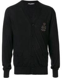Dolce & Gabbana Трикотажный Кардиган С Нашивкой - Черный