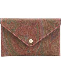 Etro Paisley Print Envelope Clutch Bag - Brown