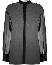 AMI Sheer-Bluse mit Mandarinkragen - Schwarz