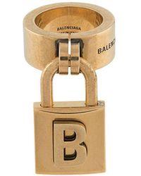 Balenciaga B Lock Ring - Metallic