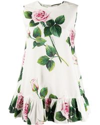 Dolce & Gabbana Tropical Rose チュニック - ホワイト