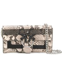 Pinko Love Bag Wallet With Shoulder Strap - Gray