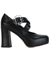 Simone Rocha Criss Cross Strap Court Shoes - Black