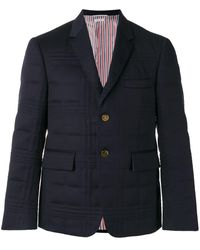 Thom Browne Flap Pockets Quilted Blazer - Blue