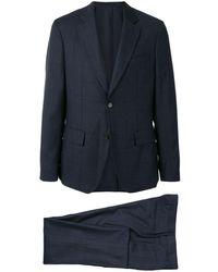 Ferragamo チェック シングルスーツ - ブルー