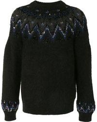 Coohem Intarsia-knit Crew Neck Jumper - Black