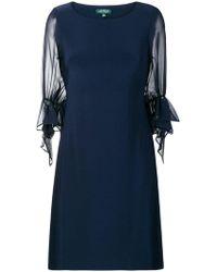 Lauren by Ralph Lauren - Sheer Puff Sleeve Shift Dress - Lyst