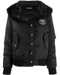 Miu Miu フーデッド パデッドジャケット - ブラック