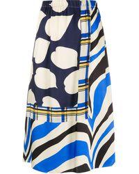 Marni ミックスプリント スカート - ブルー