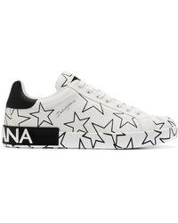 Dolce & Gabbana Star Print Portofino Sneakers - White