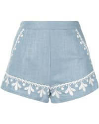 We Are Kindred Positano Embroidered Shorts - Blue