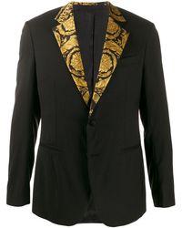 Versace Пиджак С Принтом На Лацканах - Черный