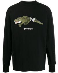 Palm Angels Langarmshirt mit Krokodil-Print - Schwarz