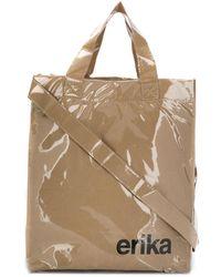 Erika Cavallini Semi Couture Slogan Tote Bag - Brown