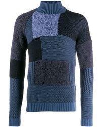 Giorgio Armani パッチワーク セーター - ブルー
