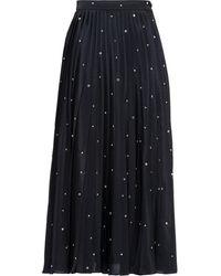 Miu Miu Embroidered Crepe De Chine Skirt - Black