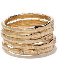 Wouters & Hendrix - 18kt Yellow Gold Diamond Set Of Rings - Lyst
