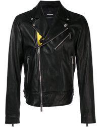 DSquared² Chaqueta biker con estampado punk - Negro