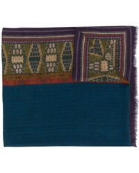 Etro Embroidered Fringed Scarf - Blue