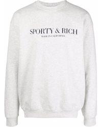 Sporty & Rich Jersey con cuello redondo y logo - Gris