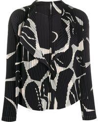 Issey Miyake Blazer plissé à imprimé abstrait - Noir
