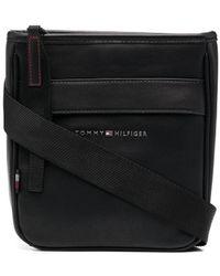 Tommy Hilfiger ロゴプレート メッセンジャーバッグ - ブラック