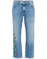 Mira Mikati - Wonder Embroidered Cropped Jeans - Lyst