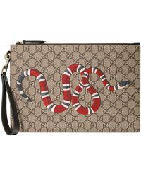 Gucci GG Buidel Met Slangenleer - Bruin