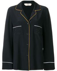 Fendi Camisa de pijama con bordado - Negro