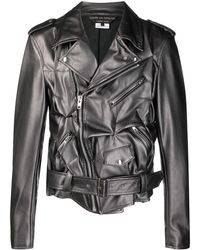 Comme des Garçons Куртка Из Искусственной Кожи Со Сборками - Серый