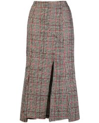McQ - Checked Print Fitted Skirt - Lyst