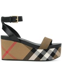 Burberry - House Check Wedge Sandals - Lyst