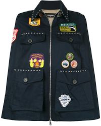 DSquared² - Patch Appliqué And Studded Cape - Lyst