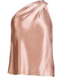 Michelle Mason One-shoulder Silk Top - Pink