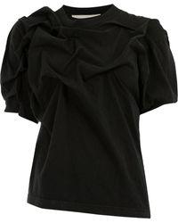 Aganovich Asymmetric Ruched T-shirt - Черный