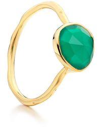 Monica Vinader Siren Stacking Green Onyx Ring - Metallic