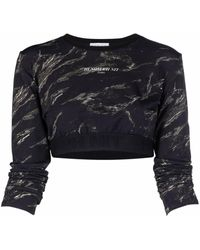 ih nom uh nit Abstract-print Cropped T-shirt - Black