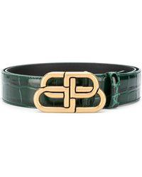 Balenciaga Logo Buckle Leather Belt - Green