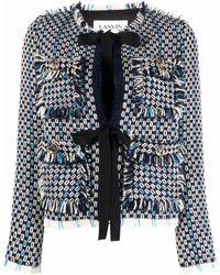 Lanvin リボンディテール ツイードジャケット - ブルー