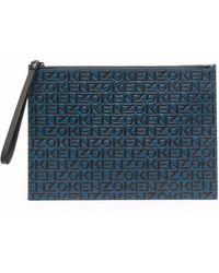 KENZO ロゴ クラッチバッグ - ブルー
