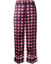 Fendi Heart Print Pajama Pants - Blue