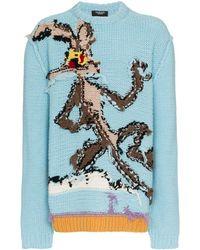 CALVIN KLEIN 205W39NYC Looney Tunes リバースインターシャニット セーター - ブルー