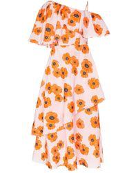 Vika Gazinskaya Poppy Print One-shoulder Ruffle Dress - Pink