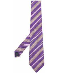 Trussardi Cravate en soie à rayures brodées - Violet