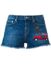 Mira Mikati Embroidered patch denim shorts - Blu